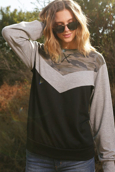 V Neck Camo Color Block Top