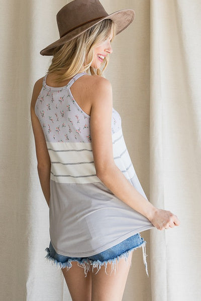 Halter Neck Mixed Fabric Tank Top