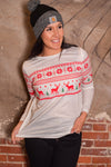 Christmas Print Long Sleeve Top