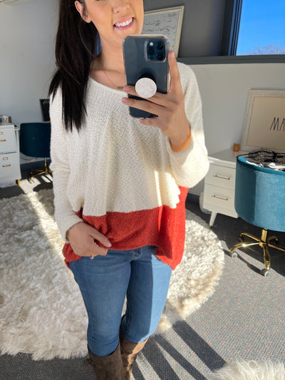 Solid Color Block Knit Jersey Top