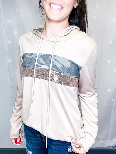 Sparkling Camo Color Block Hooded Top