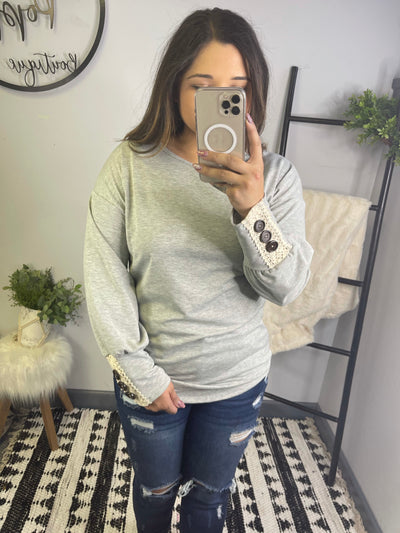 Lace Accent Full Sleeve Top