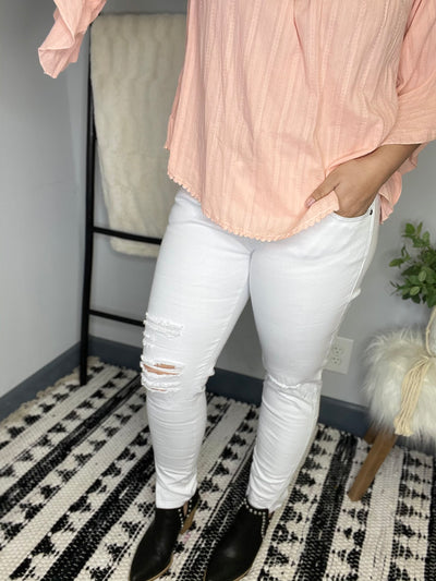 Low Rise White Distressed Ankle Skinny Kan Can