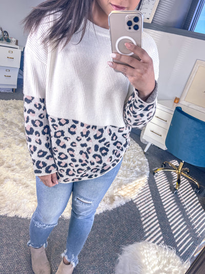 Leopard Block Sweater