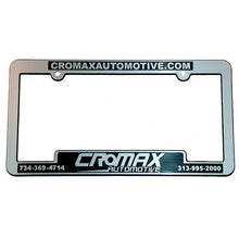 Load image into Gallery viewer, Custom Chrome License Plate Frames Sales Department Alabama Independent Auto Dealers Association Store Shiny Chrome Economy Recessed Panel with Raised Letter