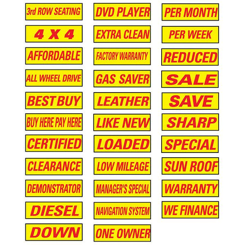 Slogan Window Stickers - Yellow and Red Sales Department Alabama Independent Auto Dealers Association Store