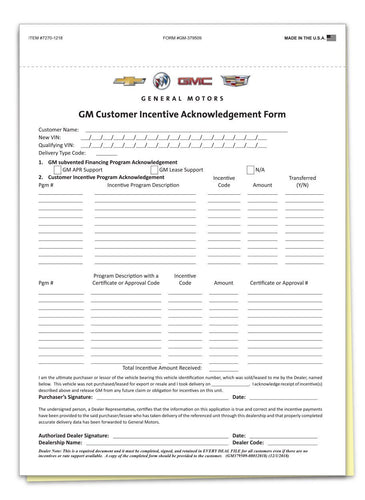GM Customer Incentive & OnStar Acknowledgement Office Forms Alabama Independent Auto Dealers Association Store