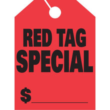 Load image into Gallery viewer, Jumbo Mirror Hang Tags Sales Department Alabama Independent Auto Dealers Association Store Red Tag Special Fluorescent Red