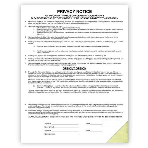 Custom Privacy Notice Office Forms Alabama Independent Auto Dealers Association Store