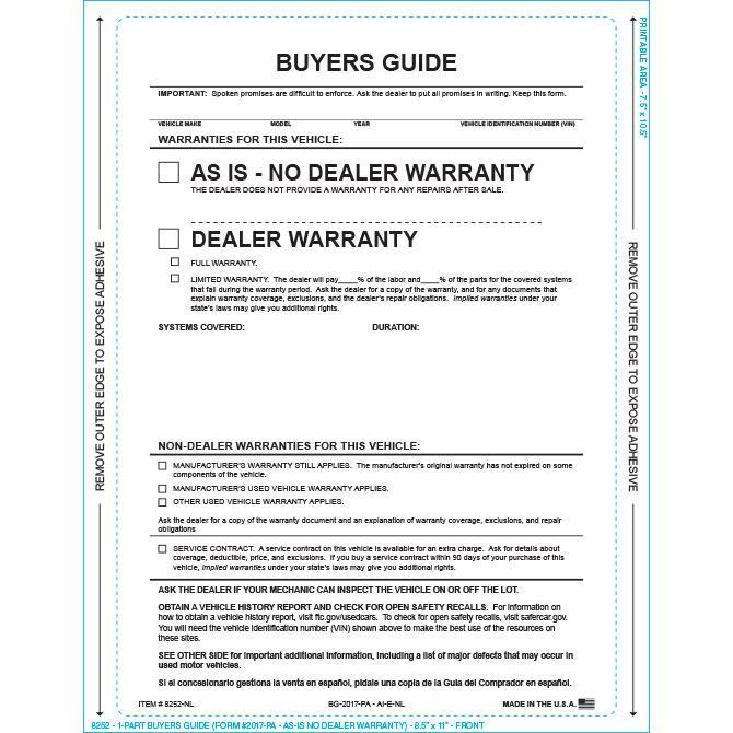 PEEL n SEAL™ 1-Part Buyers Guide - As Is - No Lines Sales Department Alabama Independent Auto Dealers Association Store