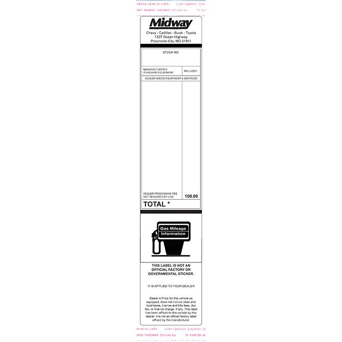 Custom Addendum Stickers (Tape Adhesive) Sales Department Alabama Independent Auto Dealers Association Store Small