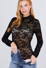 Load image into Gallery viewer, Long Sleeve Scallop Mock Neck Lace Bodysuit