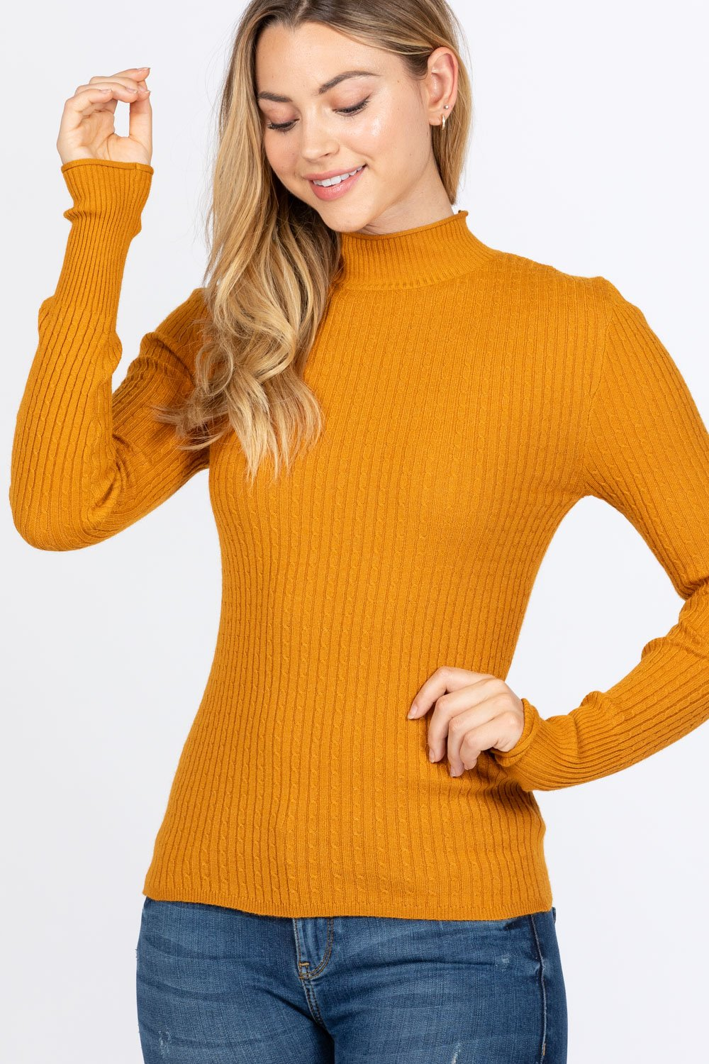 Mock Neck Viscose Sweater