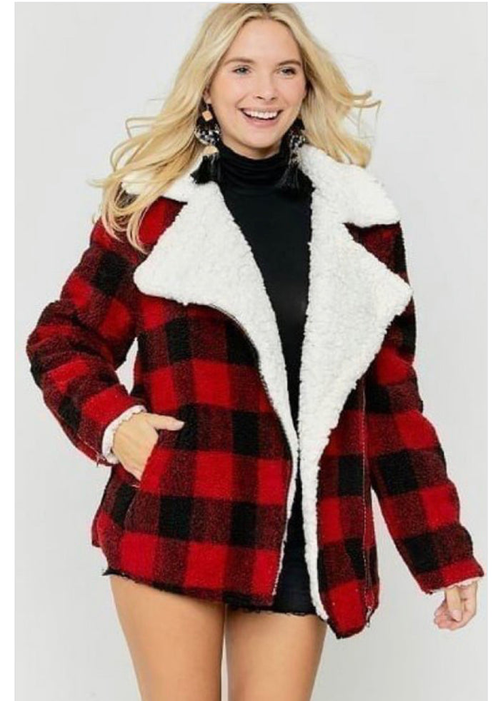 Black & Red Coat Faux Fur