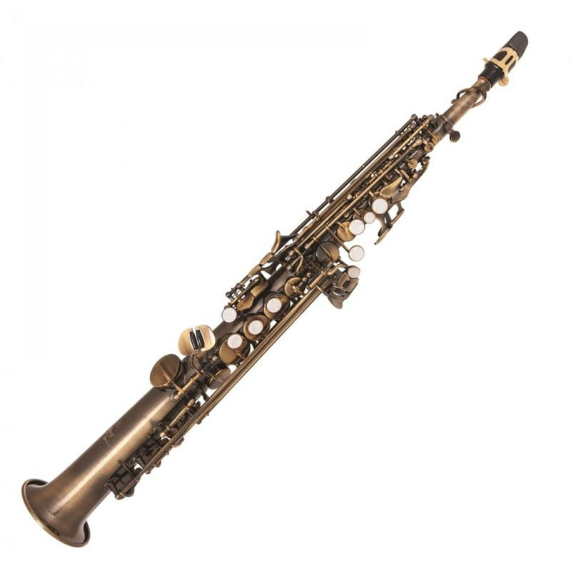 ODYSSEY SYMPHONIQUE STRAIGHT 'BB' SOPRANO SAXOPHONE OUTFIT ~ DISTRESSED