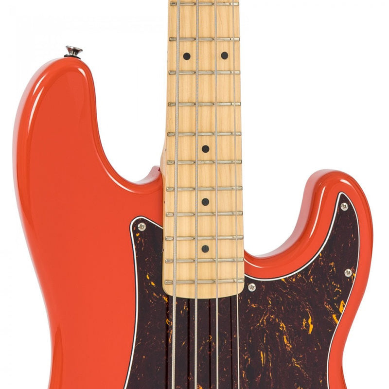 VINTAGE V4 REISSUED MAPLE FINGERBOARD BASS GUITAR ~ FIRENZA RED