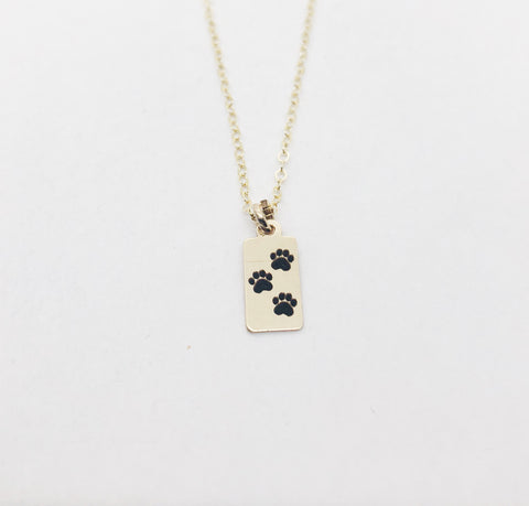 Paw Print Necklace Rectangle