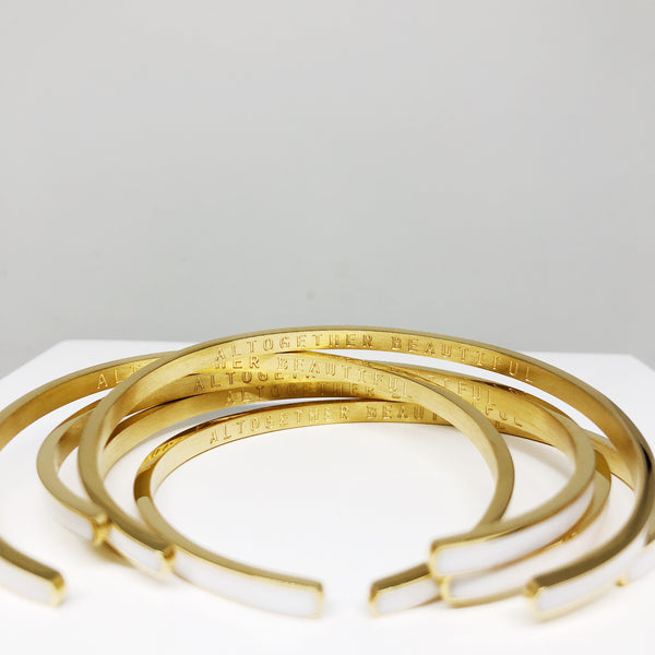 Altogether Beautiful white and gold stacking cuff