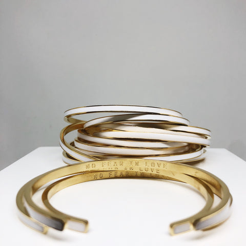No Fear in love white and gold stacking cuff
