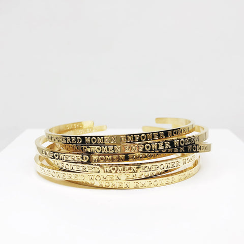 Empowered women empower women gold toned stacking cuff