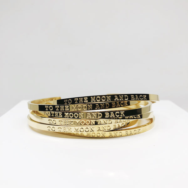 To the moon and back gold stacking cuff