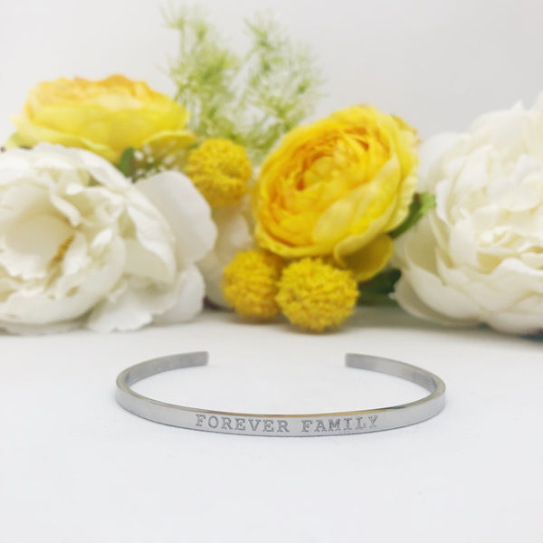 Forever Family silver stacking cuff