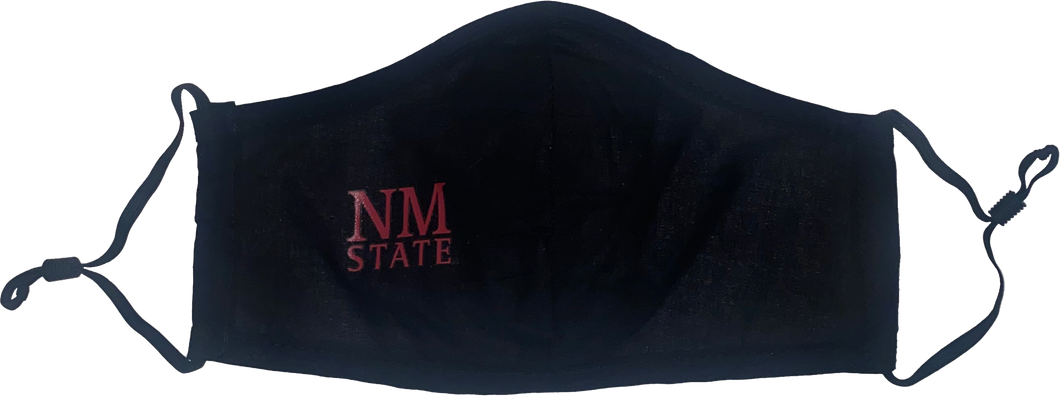 Adjustable Black Face Mask with Red NM State