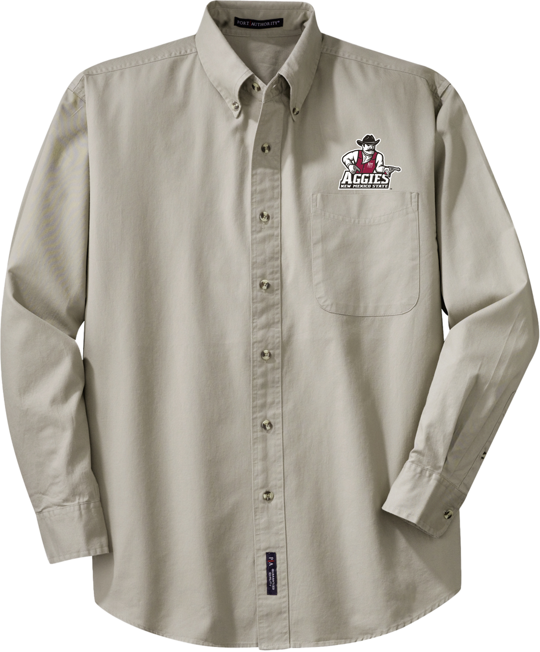 NMSU Khaki Embroidered Button-Down Shirt