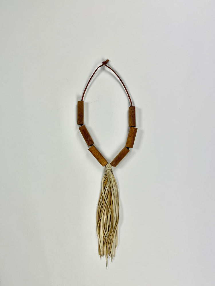 natural oak bead necklace with deerskin tassel