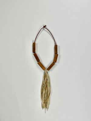 Load image into Gallery viewer, natural oak bead necklace with deerskin tassel