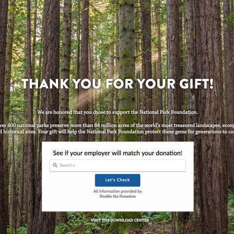Fern x Flow thank you receipt for $100 donation to National Park Foundation