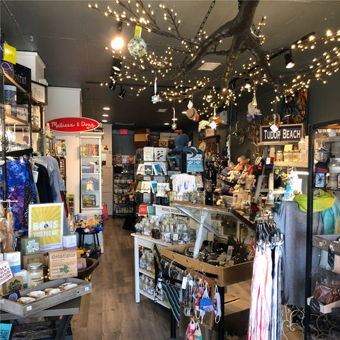 Interior view inside The Hiccup creative gift shop and experience in Swampscott, MA