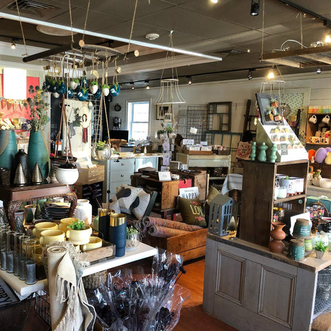 Interior view from inside Tin Bucket gift shop in Reading, MA