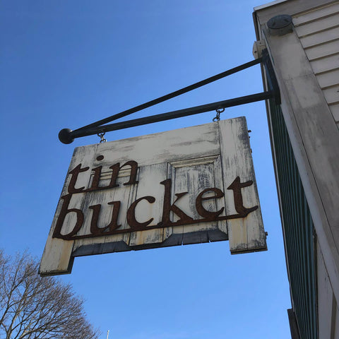 Tin Bucket shop sign in Reading, MA