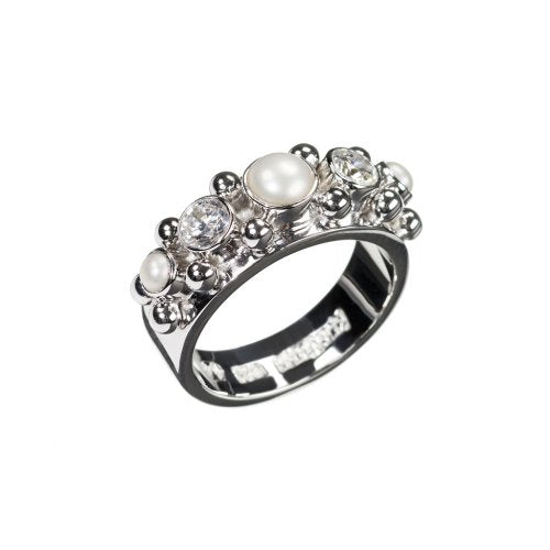 FIVE ring,  with white pearls and Cubic Zirconia, size 15
