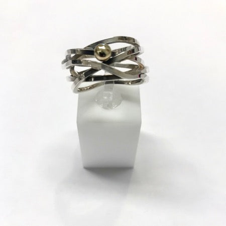 Big silver ring with round gold plated detail, size 55
