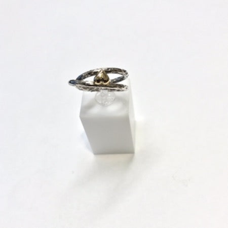 Silver ring with gold plated heart, size 52