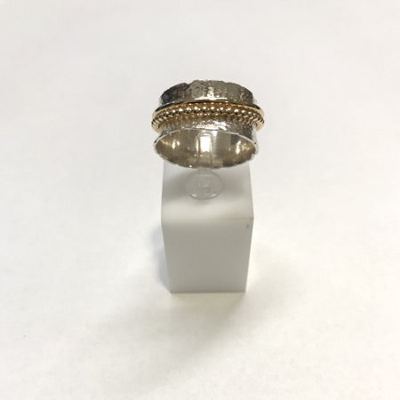 Silver ring with golden stripe,  size 54