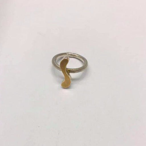 Tina Orrling, handmade ring with golden details, size 53