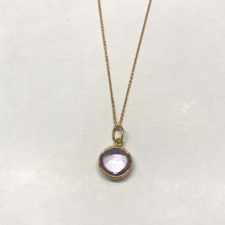 Necklace with violet Chrystal, gold