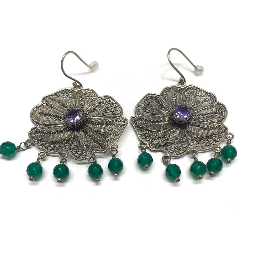 Big antique Rose earrings with Tulip cup in the Center, Purple CZ and hand Cut Green Onyx stones