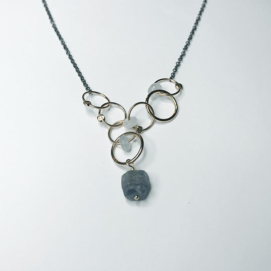 Chain necklace with Aquamarine