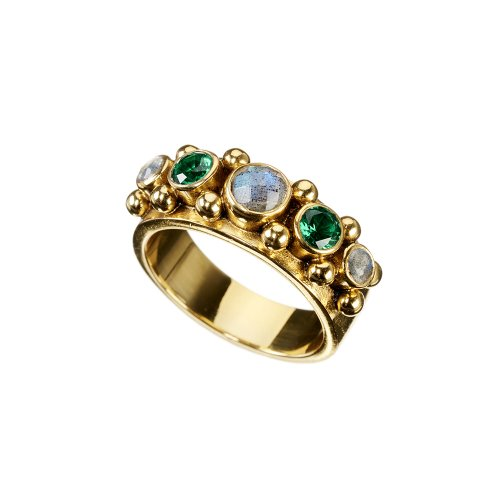 FIVE ring, gold plated with Labradorite and Emerald color CZ