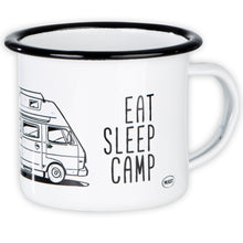 Lade das Bild in den Galerie-Viewer, EAT SLEEP CAMP Emaillebecher mit Campingbus LT Zeichnung