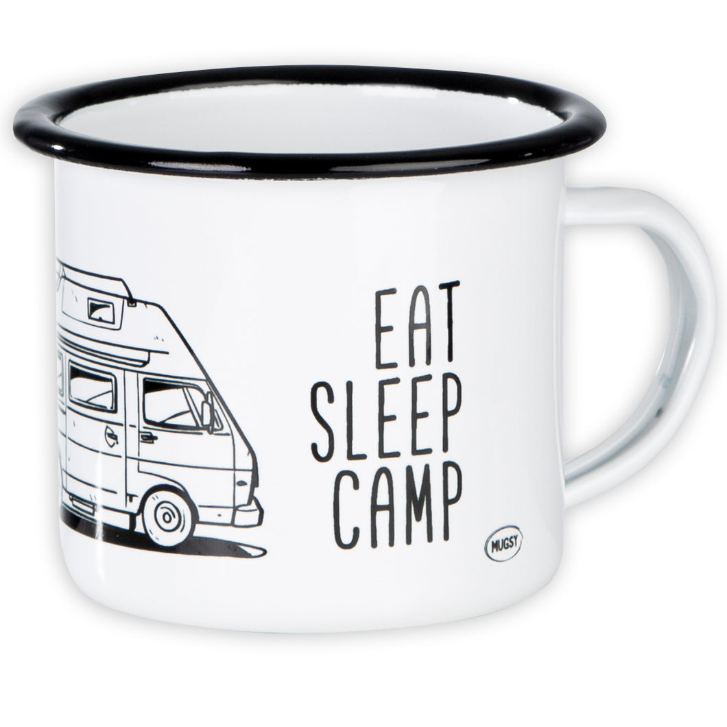 EAT SLEEP CAMP Emaillebecher mit Campingbus LT Zeichnung