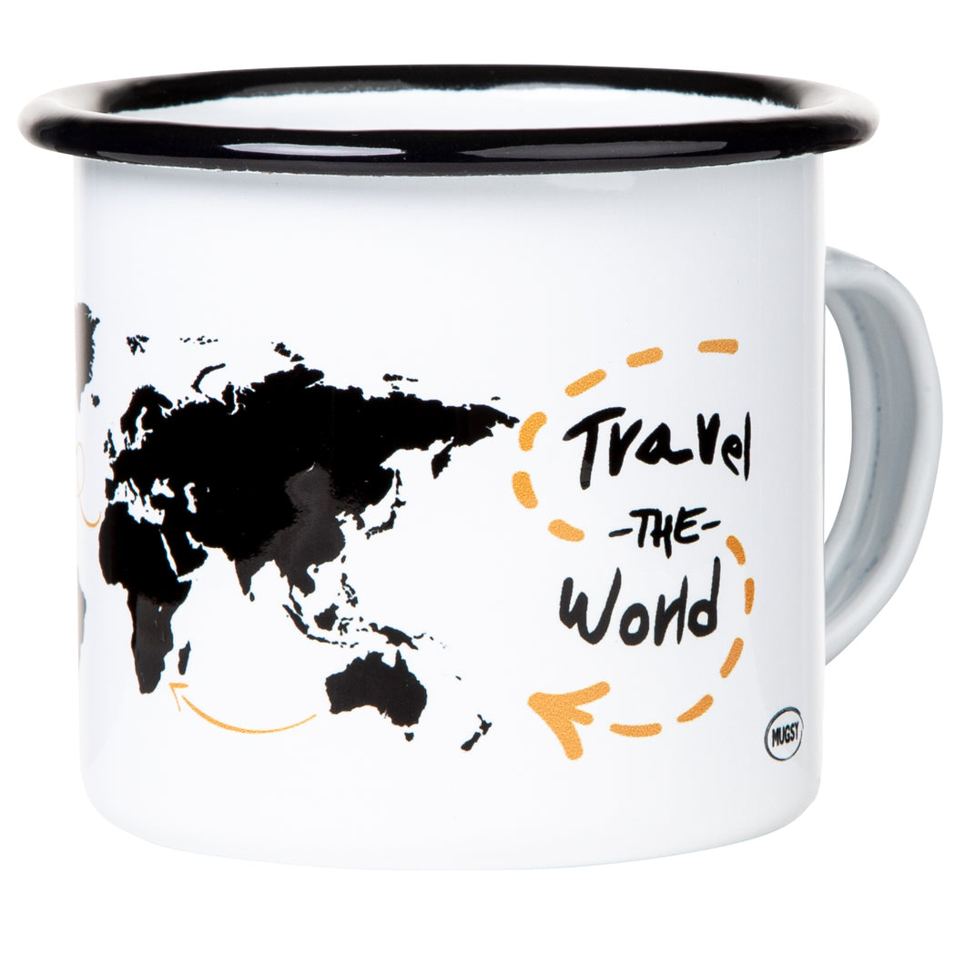 TRAVEL THE WORLD Emaillebecher weiß
