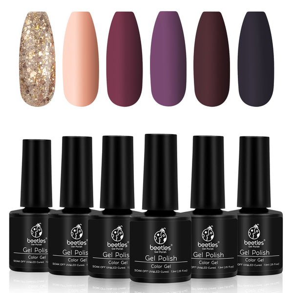 Beetles Gel Nail Polish 6 Colors Set | Full Maroon