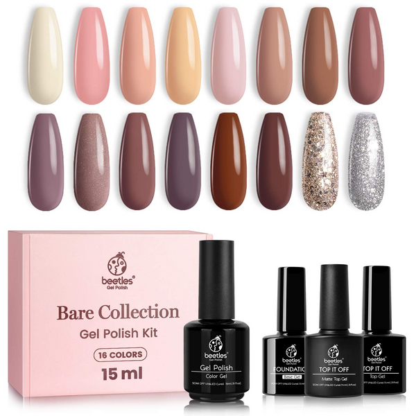 Beetles Gel Nail Polish 16 Colors Set | Bare Collection