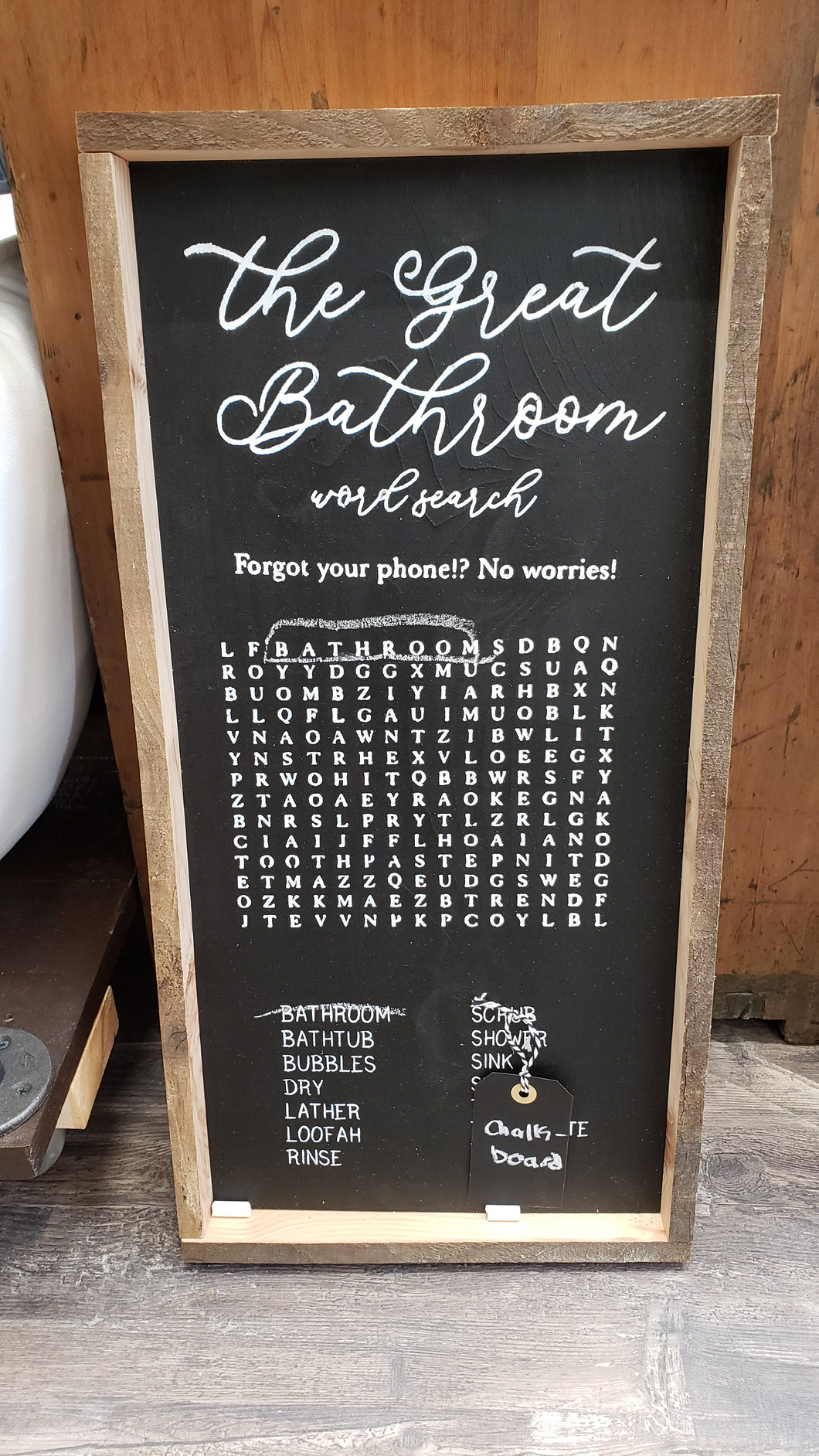 The Great Bathroom Word Search Sign