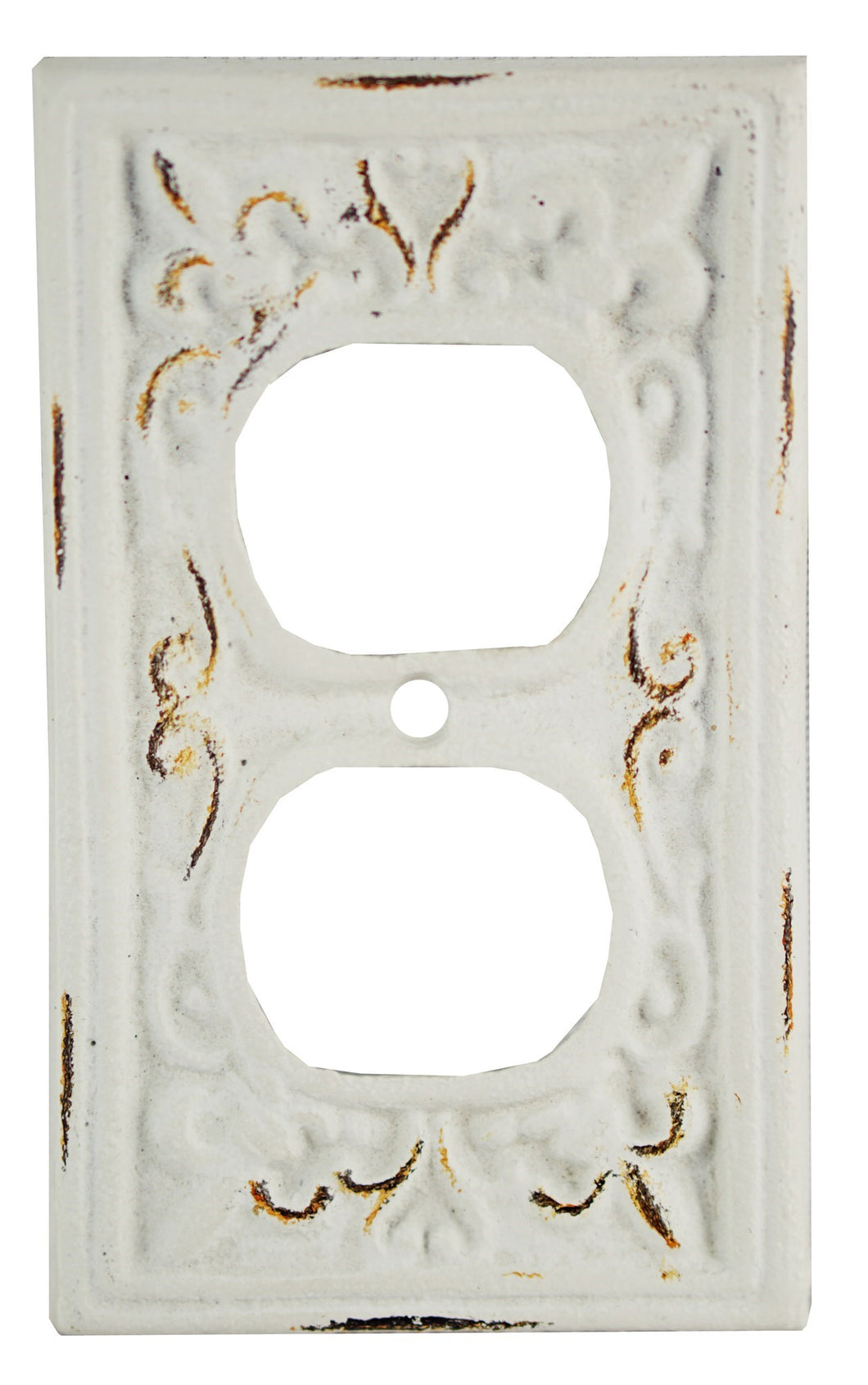 Kel Cast Iron Outlet Cover, Double, Antique White